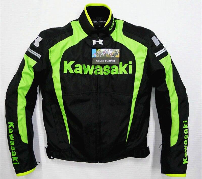 Street Motorcycle Moto GP Racing Team for KAWASAKI Jacket Riding with Protectors Black Green Clothing цена