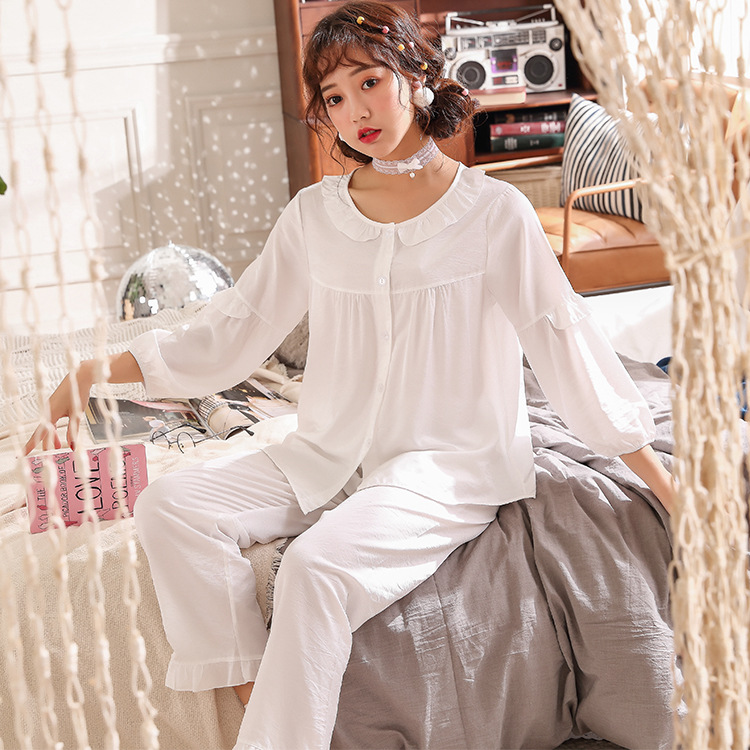 QWEEK 2019 Spring Cardigan Sleepwear Women Set Lace Thin Nightwear Comfortable Cotton Pajamas Women Nine Points Sleeve Home Wear