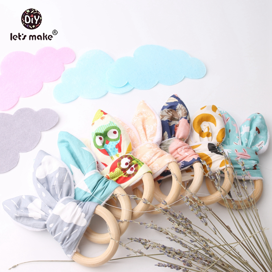 Let's Make Baby Teether Bunny Ear Food Grade Materials 12pcs Teething Accessories Safe Play Gym Pram Toy Nursing Baby Teether