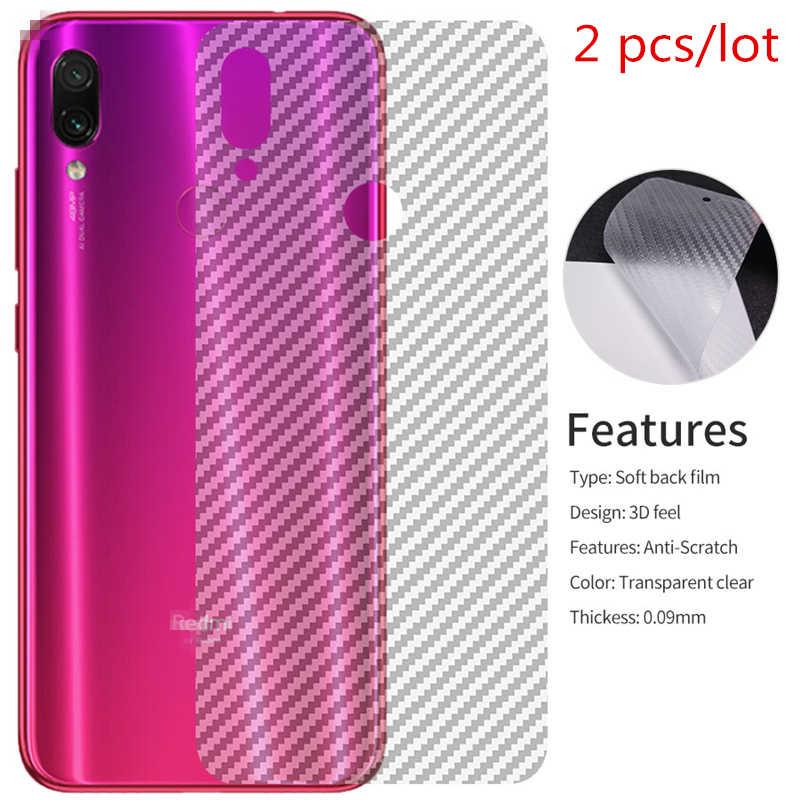 2 adet/grup Şeffaf 3D Karbon Fiber Xiao mi Pocophone F1 mi 8 Lite 9 Se kırmızı mi Not 5 6 7 Pro 6 6A Arka Koruyucu Film Kapak Kılıf