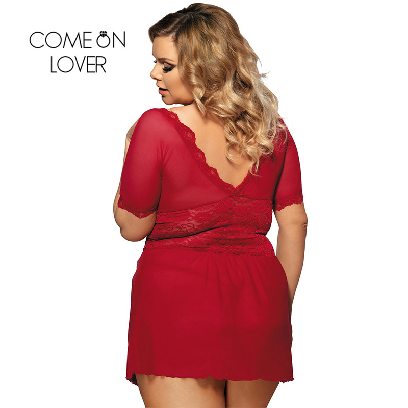 RI70335 Comeonlover Sexy Lingerie Lace Deep V Plus Size Lingerie Sleepwear V Back Langerie Sex Red Women Sexy Lingerie Babydoll 1