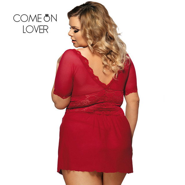 RI70335 Comeonlover Sexy Lingerie Lace Deep V Plus Size Lingerie Sleepwear V Back Langerie Sex Red Women Sexy Lingerie Babydoll 1