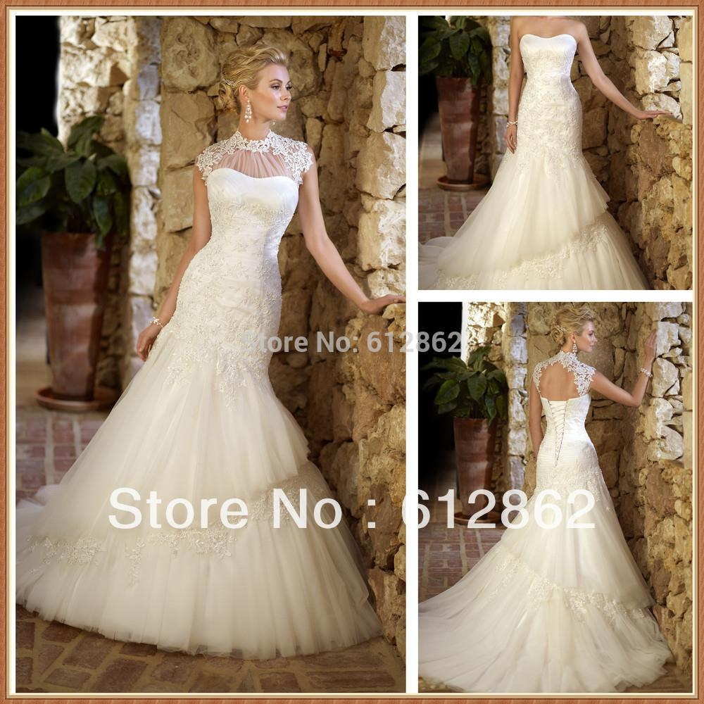 Elegant 2 Piece Wedding Dresses : Elegant mermaid and tulle beaded lace long train wedding