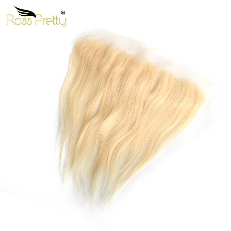 Ross Pretty Remy Peruvian Straight Hair Blonde Color Lace Front Human Hair 613 13x4 Frontal Middle or free part Peruvian Hair(China)