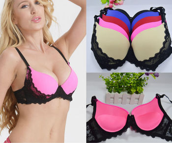 Women Sexy Underwire Padded Push Up Embroidery Lace Ladies Bra 32 34 36 38 40 A B C D Brassiere Bra Push Up BrasBH Lingerie invisible bra
