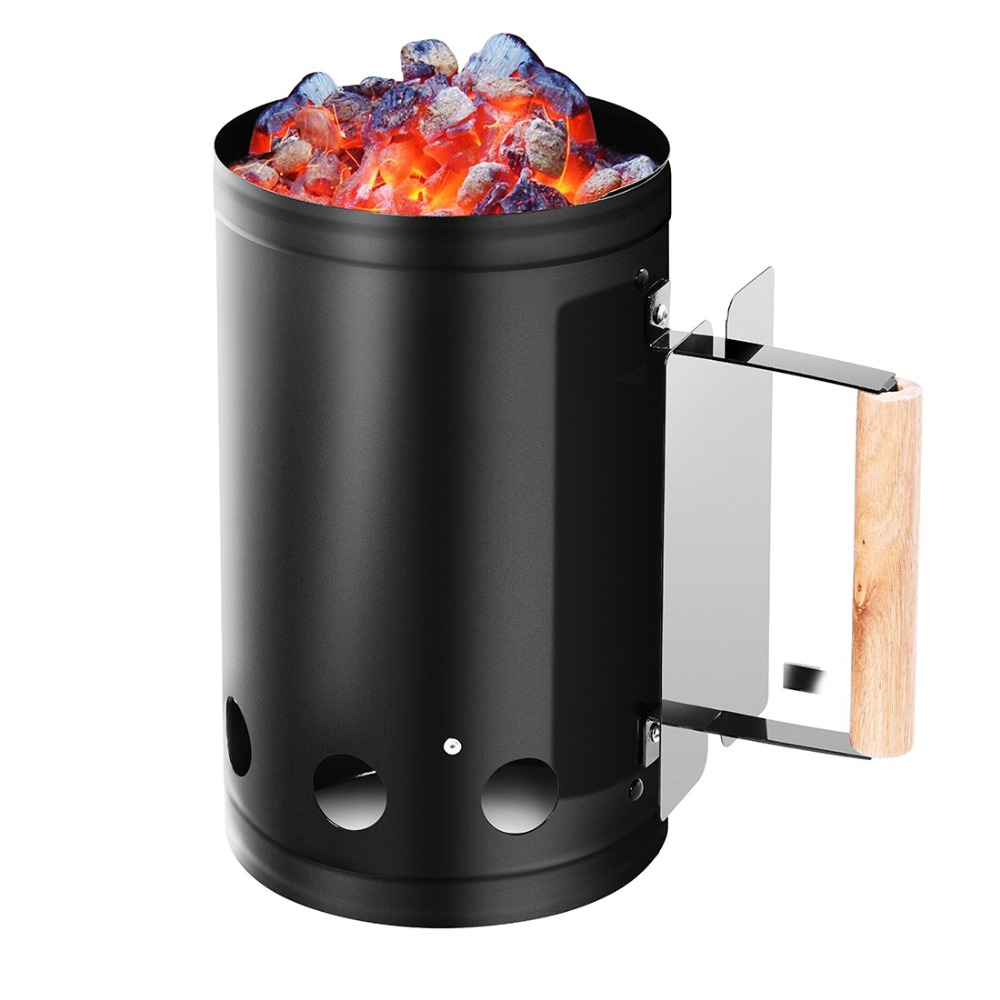 10 Inch Black BBQ Grilling Chimney Charcoal Starter With