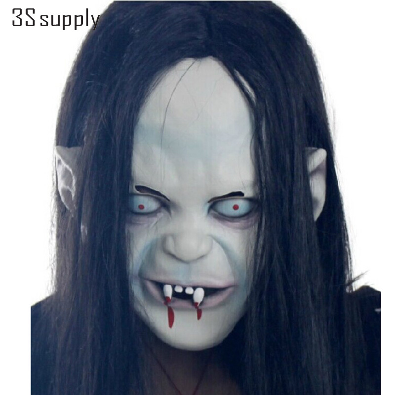 New Vinyl Halloween Mask Horror Full Face Masks <font><b>The</b></font> <font><b>Grudge</b></font> Long Hair Sadako Ghost Zombie Scary Mask Cosplay Props Party Supplies