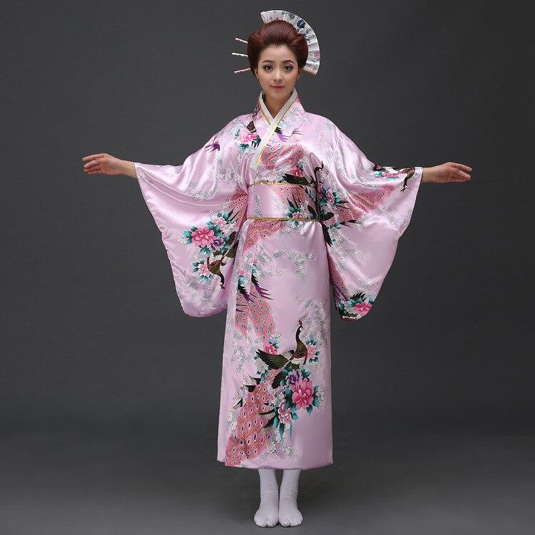 Japansk Kimono Klänning Imitation Silk Kvinnor Yukata Kostym - Nationella kläder - Foto 3