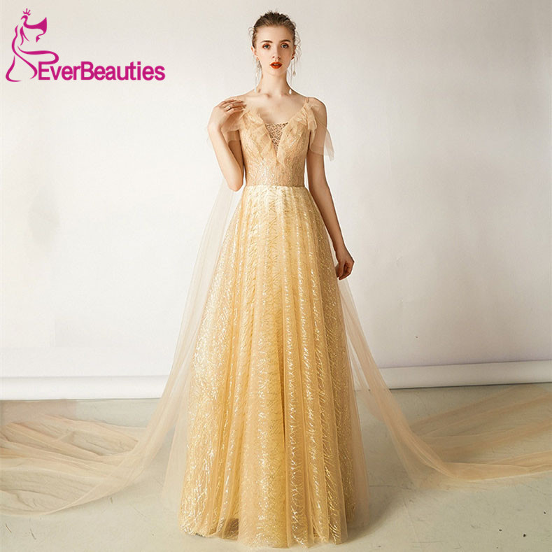 Robe De soirée luxe or Robe De soirée longue Tulle formel Robe De soirée Abiye Gece Elbisesi Abendkleider 2019