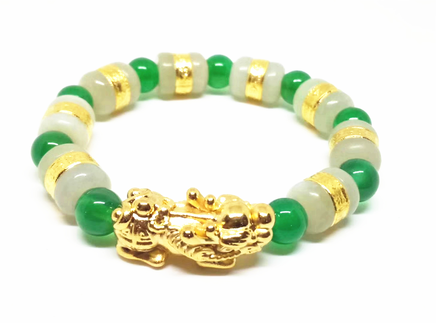 24K Gold Brave Troops Pendant Gold and Hetian Jade Green Chalcedony Beaded Bracelet vention vae t03 earphone 3 5mm in ear bass stereo earbud with remote mic for samsung mp3 player