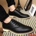 Новая Зимняя Мужская Обувь Pu Кожа Повседневная Обувь Мода узелок черный Квартиры Ретро Указатель Toe Офисные Обувь Оксфорд Обувь Для Мужчин