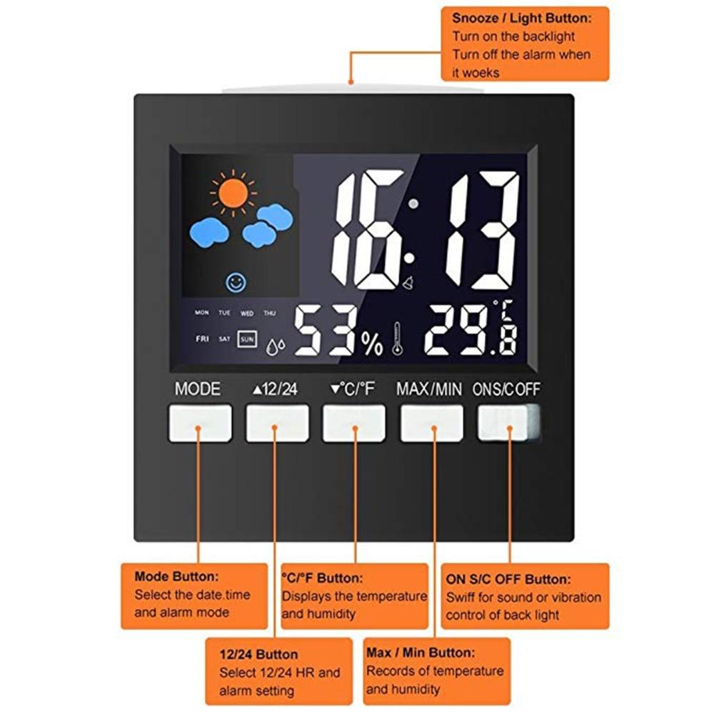 Kalender Digital Lcd Temperatur Und Feuchtigkeit Meter Uhr Alarm Kalender, Planer Und Karten