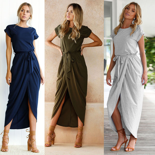 SHIBEVER Summer Party Women Dress Asymmetrical Vintage Boho Long Dresses Sexy Vestidos Beach Maxi Dress Casual Clothing ALD719