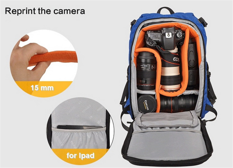 Photography DSLR Camera Backpacks With Padded Dividers Insert Tripod Holder For Canon 5D 7D 6D Nikon D7200 D40 D5300 Sony A7 30 dslr camera photo backpack divider insert padding bag 15 laptop pack for canon nikon sony pentax fujifilm with tripod holder 30