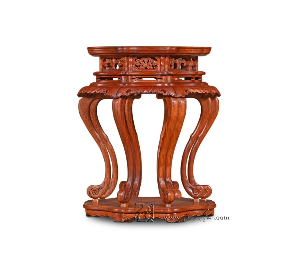 Articles of Luxury Hexapod Incense Table Engraved with Lotus Leaf Patterns China Antique Burmase Rosewood Flower Stand Wooden articles