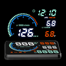 5.5″ Colorful Multifunctional I9 Car HUD Head Up Display Overspeed Warning Windshield Project Speed Alarm System OBDII Interface