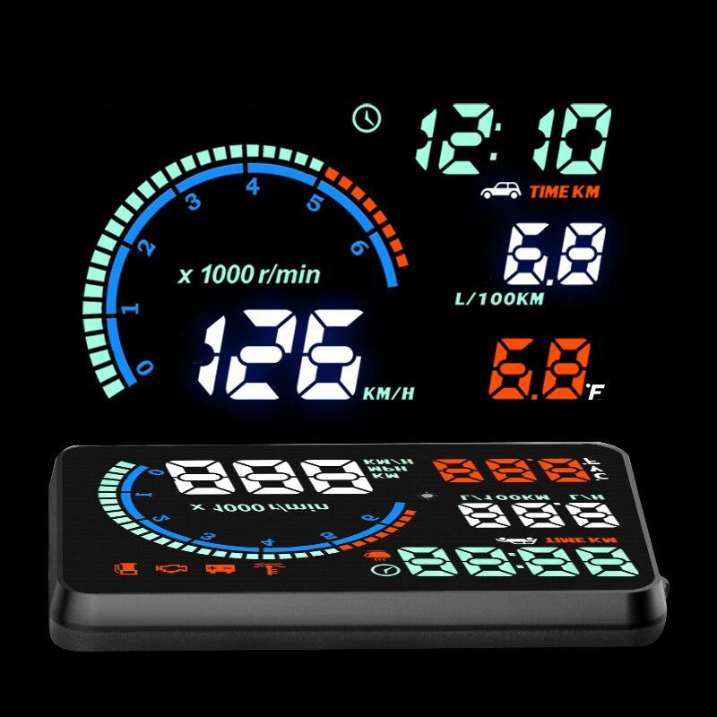 """imágenes para 5.5 """"Colorido Multifuncional I9 HUD Head Up Display Sobrevelocidad Advertencia Parabrisas Del Coche Sistema de Alarma de Velocidad de Proyecto OBDII Interface"""