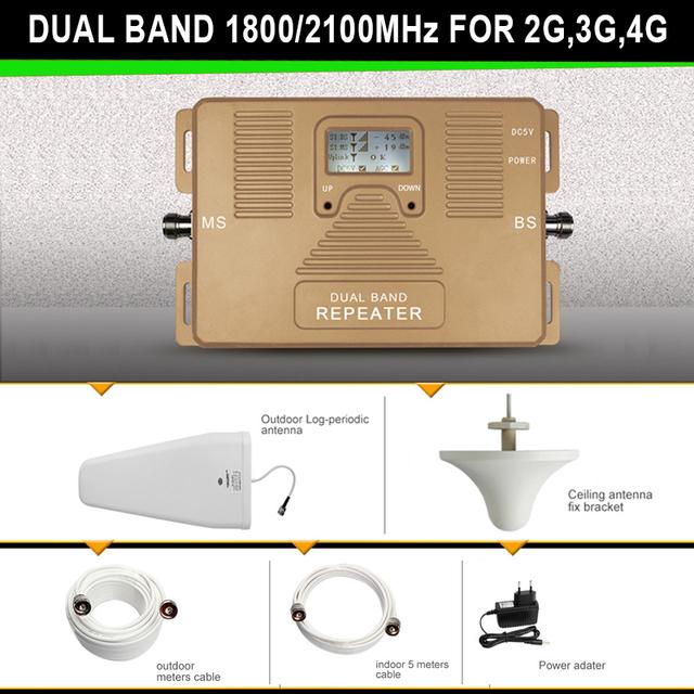 2017 Qualidade Superior! 2G 3G 4G reforço de sinal móvel dual band1800 & 2100 mhz amplificador de sinal repetidor amplificador cobertura grande kit
