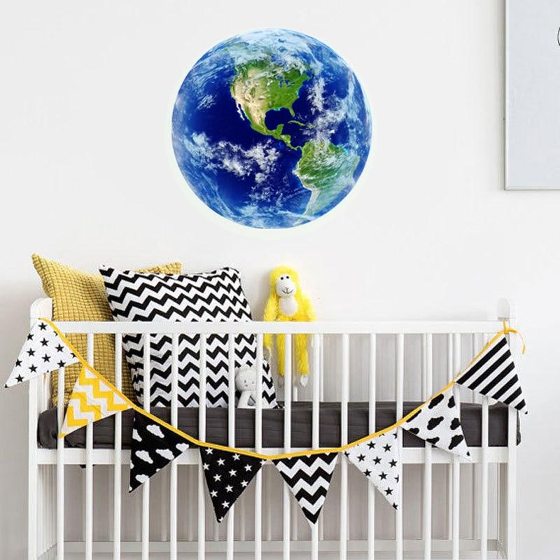 1ks nový světelný měsíc modrá země kreslený DIY 3d nástěnné samolepky pro dětské pokoje ložnice nástěnná samolepka Domácí výzdoba Obývací pokoj