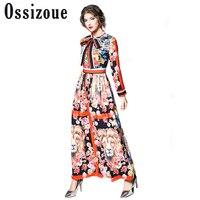 Runway Dresses 2018 Women High Quality Bow Neck Vintage Animal Print Party Dresses Designer Long Maxi Dress Vestidps Robe Femme