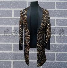 Rock men leopard print suits designs masculino homme terno stage costumes for singers men sequin blazer dance trench clothes