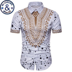 Mens Hipster African Dashiki Social Shirt 2018 Brand New Slim Short Sleeve Dress Shirts Men Summer Causal Shirt Chemise Homme