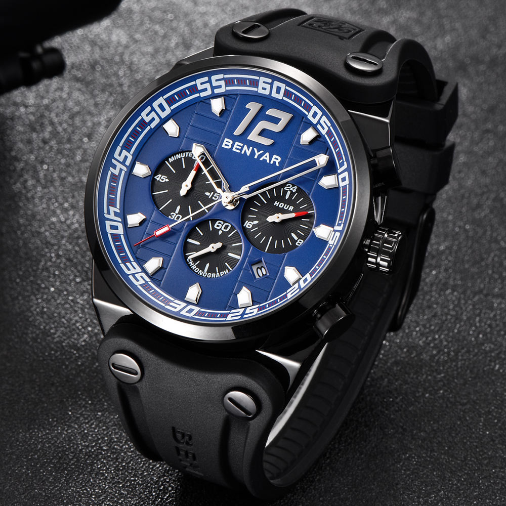 Fashion BENYAR Brand Blue Luxury Wrist Watch For Men Quartz Army Military Watch Men Analog Sports Watches Boys Relogio Masculino fashion o t sea brand faux leather blue ray glass watch men military quartz wrist watches relogio masculino w042