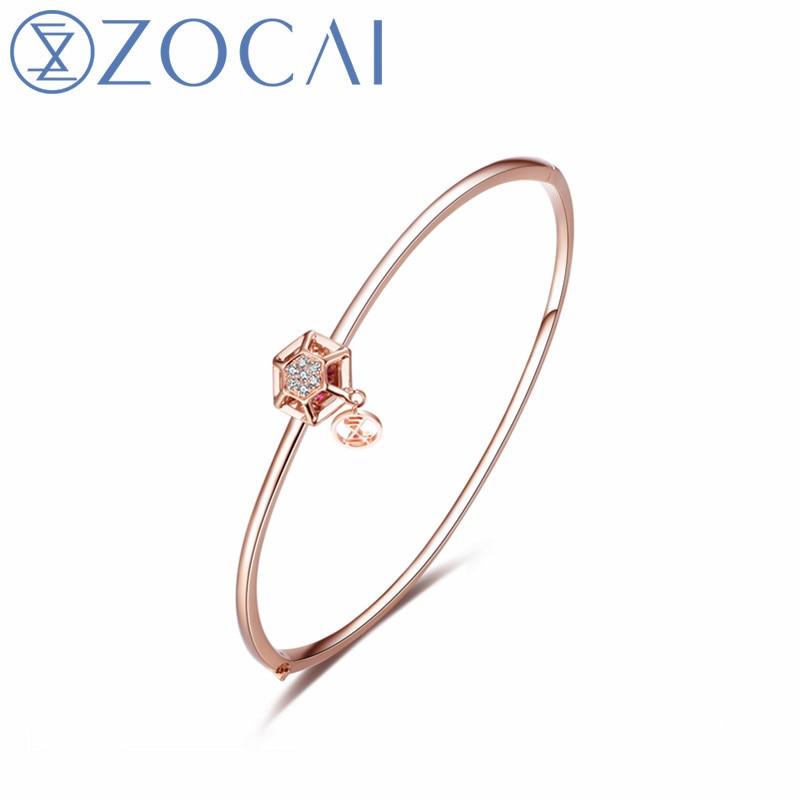 ZOCAI New Design Diamond Bracelet Real Certificated Diamond 0.05 CT Ruby 0.05 CT 18K Rose Gold (AU750) Party Bracelet JBZ90049T jinhui 18k 750 0 05 ct jh bs1380