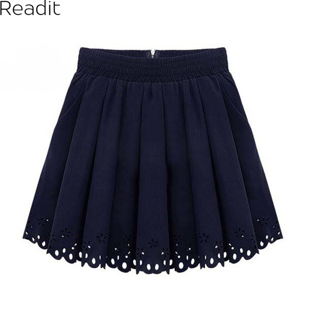 Hot Navy White Tulle Pleated Skirts Women High Waist Skater Skirt New Micro Mini skirts Women Hole Hollow Out Chiffon SK005