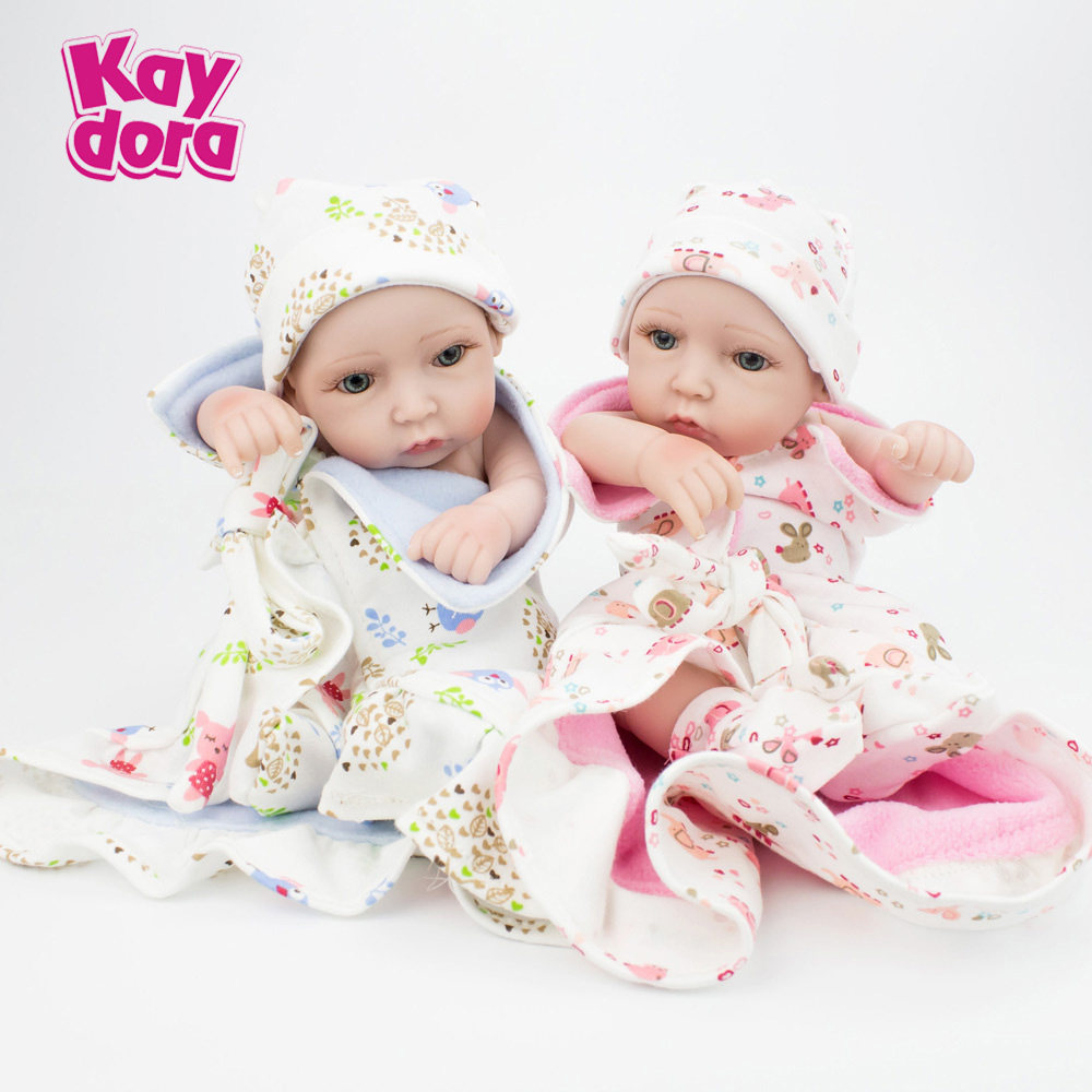 10 inch 28cm Pair of Full Silicone Reborn Baby Dolls Alive Lifelike Real Dolls Realistic Kids Reborn Babies Twins Kid Toys Gift 11 inch 28cm full vinyl silicone reborn baby dolls alive lifelike real dolls small kids reborn babies toys birthday xmas gift