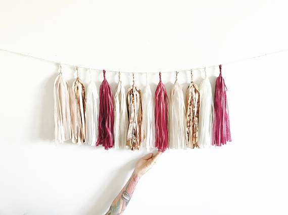 7ft of 20 tassels mixed Burgundy, Rose Gold, Cream and Champagne Shimmer Tassel Garland - Baby Shower Decorations