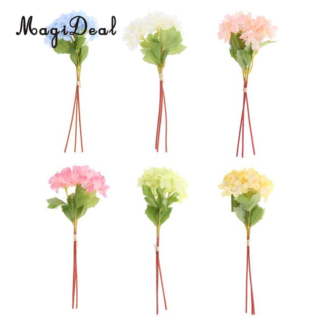 Magideal 3pcs Bunch Artificial Fake Hydrangea Blossom Flowers Leaves