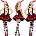 Девушки зайчика Кролика Костюмы Женщины Косплей Сексуальная Хэллоуин Взрослых Животных Костюм Причудливого Платья Партии Clubwear Носите