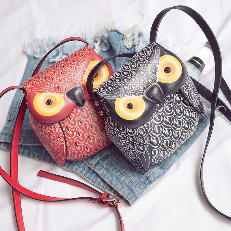 NEW Fashion Girl PU Leather Cute Red Black Cartoon Owl shape shoulder Purse messenger Bags Crossbody Bag Handbags