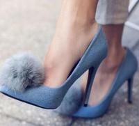 Hot Selling Spring Ladies Round Faux Fur pointed Toe Sandals Sexy Thin and High Heels Shoes