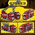 Camión de bomberos juguetes conjunto 3in1 (Escalera + Plataforma + Tanque) Funde vehículos de escala 1:32 Tire Hacia atrás del coche de Metal cab + Plástico giratorio equipo