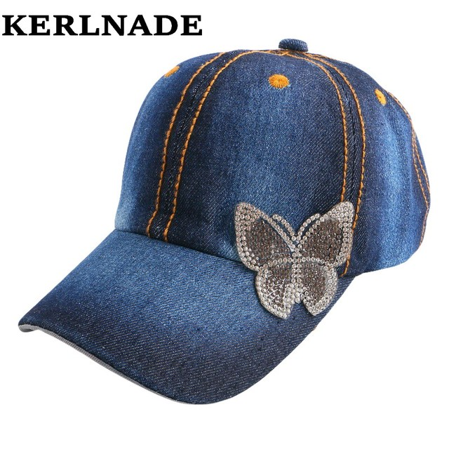 6ba45a438 4-12 years old boy girl new fashion summer baseball cap with cute  rhinestone butterfly denim jean cotton beauty snapback hats