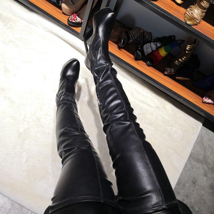 D0858 Rond Sexy Haute Yifsion Hauts Américaine Cuisse Stiletto Chaussures forme Talons Black Bottes Plus Plate Noires 5 Bout Taille Nouveauté Femmes 15 rxCodBe