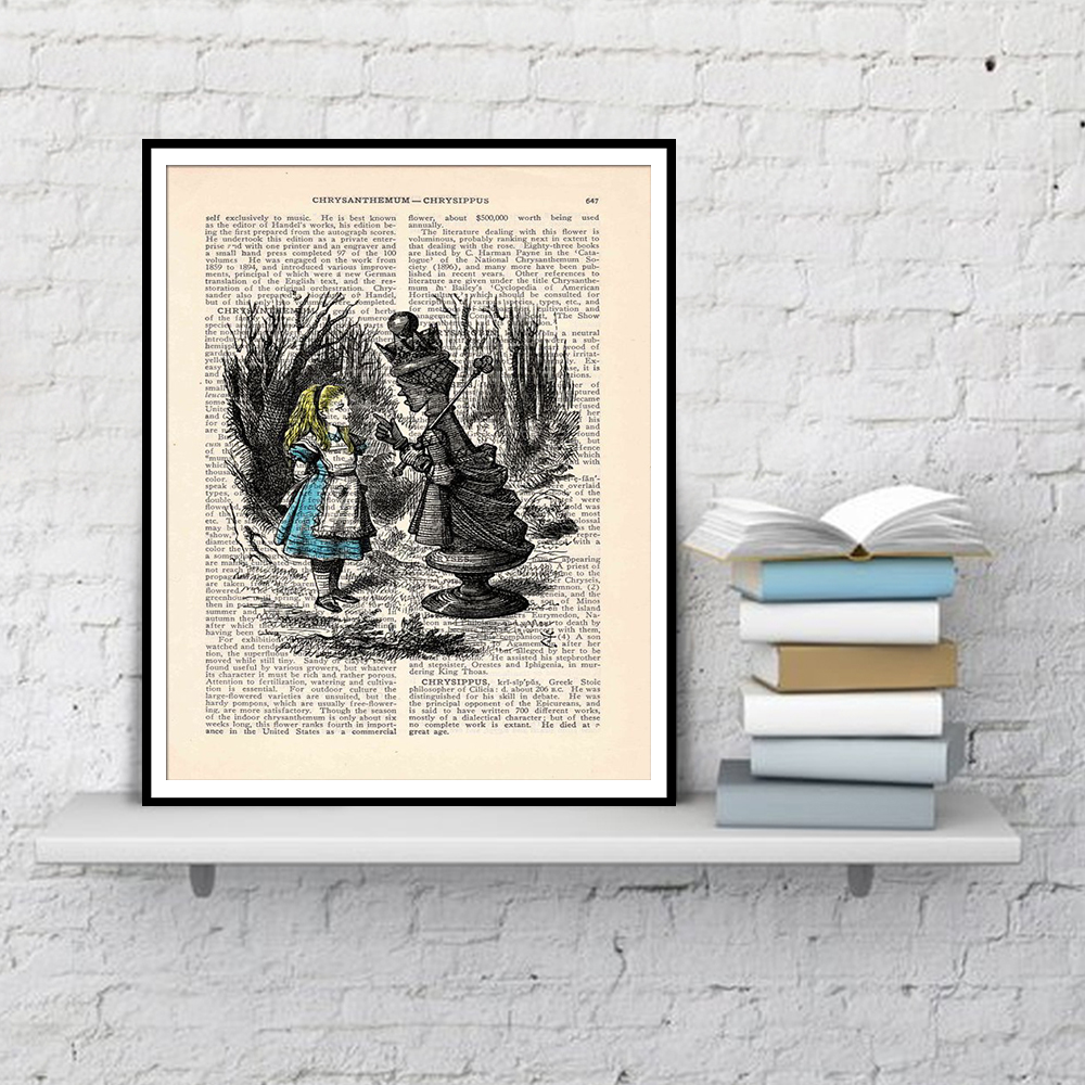 Alice In Wonderland Wall Art Book Page Print Wall Decor Posters And Prints Dictionary Art Canvas Painting