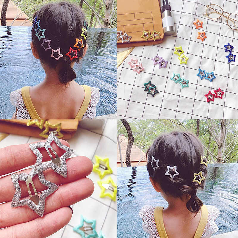 Women  Pentagram  Accessories Hair Clip Candy Color Jewelry Star Fashion  Hairpin Hairbow 1pair