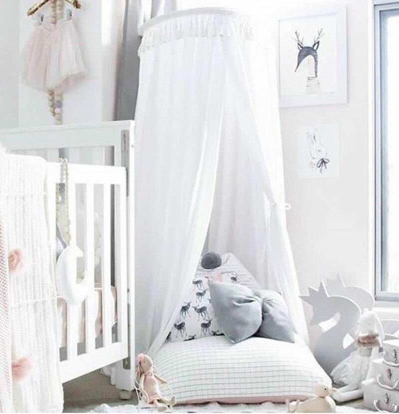 Nowy 240 cm baldachim do łóżka dzieci w domu łóżko kurtyny okrągły szopka siatki namiot dla dzieci bawełna wisiał kopuła łóżko dla dziecka moskitiera fotografia rekwizyty w Moskitiera od Dom i ogród na  Grupa 2