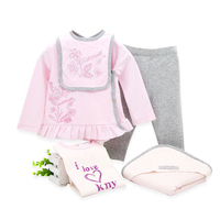 2019 5 pcs/lot Baby Girls Clothes Set Cotton Autumn Spring Baby Girl Clothing Newborn Toddler Infant Outwear