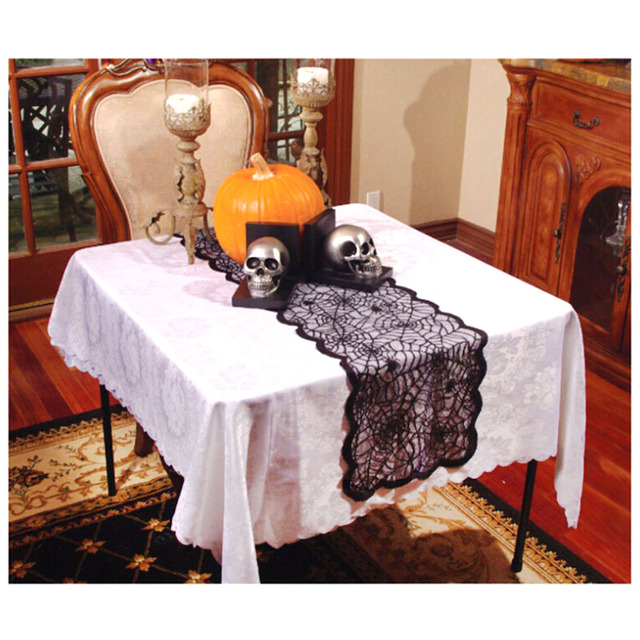 1 pc 1318x72inch halloween spider web table runner black lace tablecloth halloween table decoration