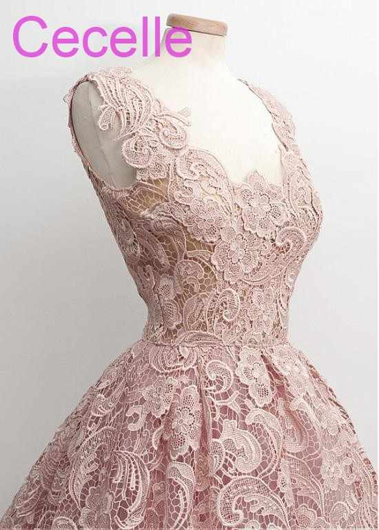 ac22c106c0 Short Blushing Pink Lace Wedding Dresses 2019 Vintage 50s 60s Informal  Bridal Gowns With Color Non Traditional Wedding Gowns
