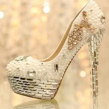 2016 Newest Rhinestone Pearl Wedding Shoes Crystal Tassels Bride Wedding Shoes Women's Shoes Nightclub Platform Dress Shoes