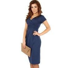 S-XL 2016 Yaz Yeni Rahat Moda Seksi Bodycon Ince Derin V boyun Kısa Kollu Diz Boyu Bayanlar Partisi Kalem Elbise Ofis Giyim