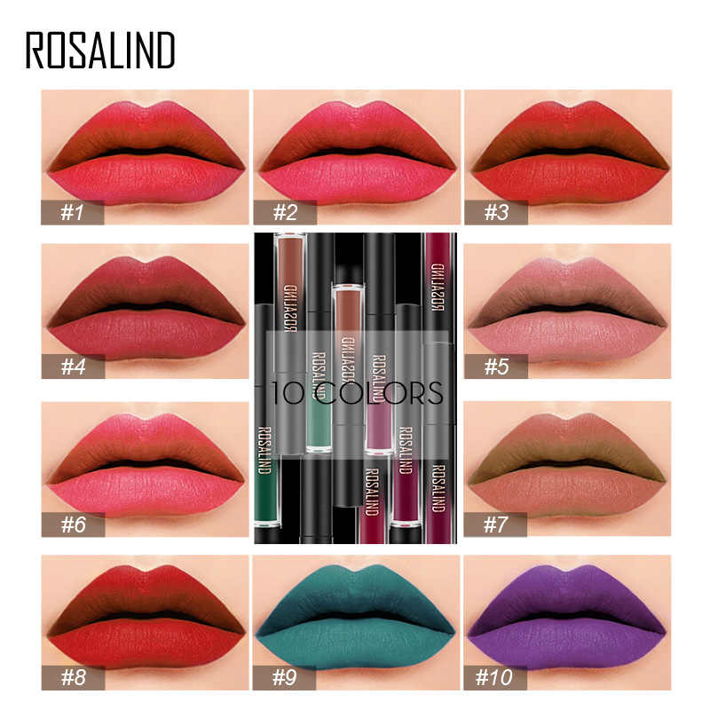 ROSALIND cosméticos lápiz labial Set brillo impermeable pintalabios desnudo maquillaje de larga duración para mujeres juego de lápiz labial profesional