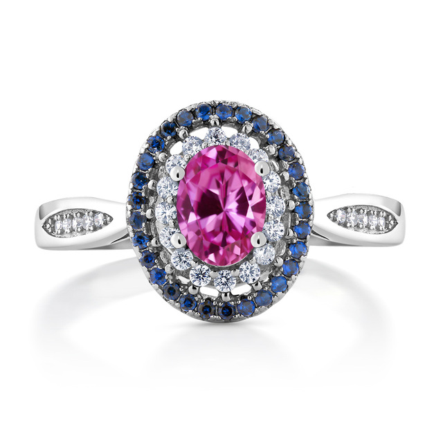 GemStoneKing 1.60 Ct Oval Pink Sapphire Halo Ring Solid 925 Sterling Silver Women's Vintage Ring