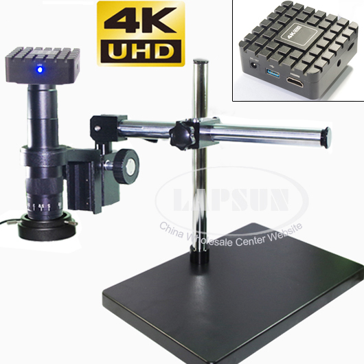 4K UHD HDMI Industrial Microscope Digital Video Camera Measuring Scale Measurement Function 20X 180X C mount