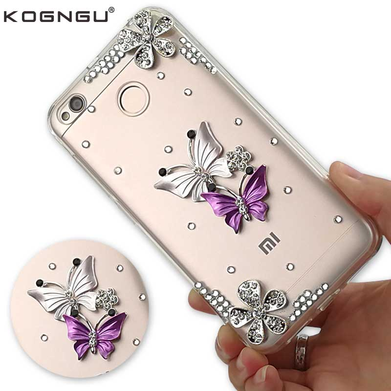 Kogngu Silicone Glitter Phone Case for Xiaomi Redmi 4x Case Bumpers Soft TPU Cell Phone Cover Accessories Rhinestone Case 4 X